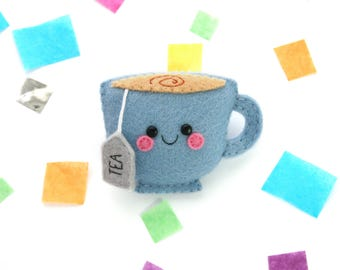 Blue Teacup Felt Brooch, Kawaii Pin Accessory, Cute Pin