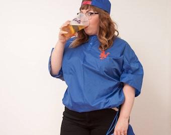 Vintage Mets Windbreaker - Vtg NY Mets Warmup Jacket - VTG Pullover Jacket - Blue Wind Breaker - Rawlings - Size XL