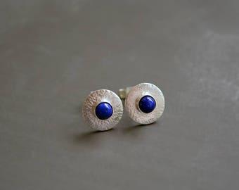 Small sterling silver stud earrings with lapis lazuli. Silver earrings. Silver jewellery. Handmade