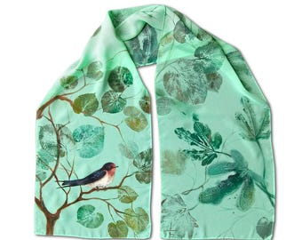 Scarf with painted swallow and eco print with leaves, mint chiffon, summer fashion, nature motives, cute bird, Bistra Sirin's Art