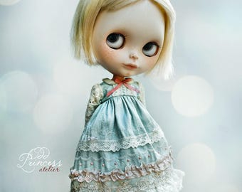 PASTEL DREAMS Collection, Teal Silk Blythe/Pullip Dress By Odd Princess, Vintage Collection