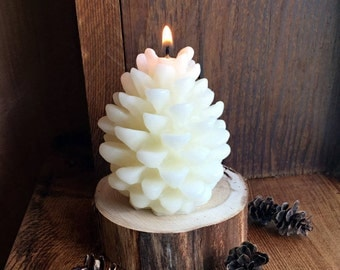 White Pine Cone Candle
