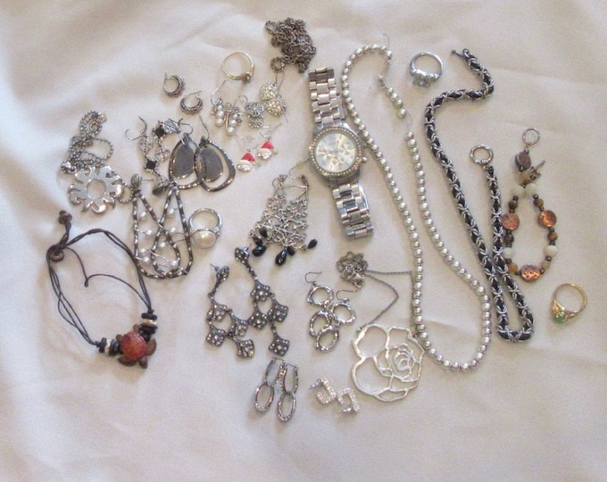 Earrings, Necklaces, Watch, Grouping of Miscellaneous Jewelry, Turtle, Sterling Silver Snowman, Cat Earrings, Cookie Lee Necklace, Bracelet
