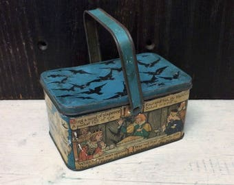 Rare Antique Nursery Rhyme Tin, Sing a Song of Sixpence, Blackbird Pie, King Queen, Small Lunch Box Style c 1920 Vintage