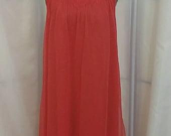Vintage nylon negligee red nylon negligee lace negligee Lorraine negligee Size small