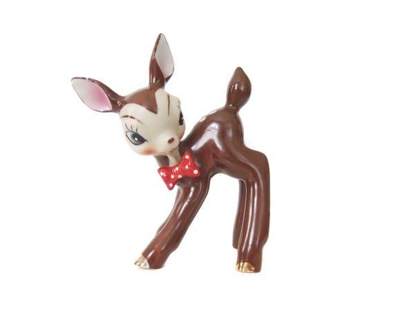 Anthropomorphic Vintage Deer Figurine, Bisque Face, Bow Tie Animal, Fawn Figurine