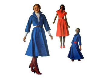 """Sewing Pattern for Women's Dress with Front Zipper, Misses' Size 10 Bust 32 1/2"""" Vintage 1970's Jiffy Simplicity 7792"""
