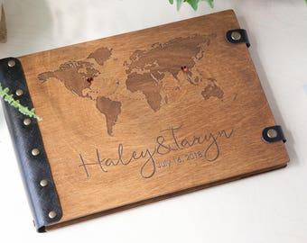 Photo Album, World Map, Travel Photo Album, Travel Album, Custom Wedding Album, Wood Photo Album, Wedding Album, Personalized Album, Wedding
