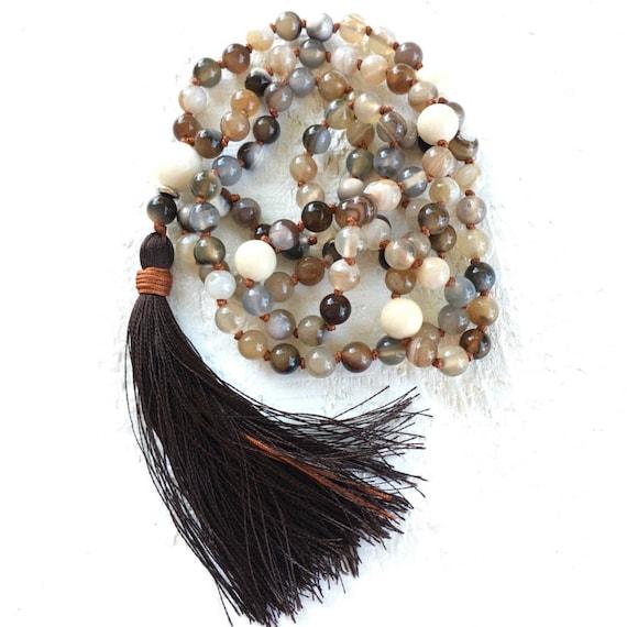 Emotional Healing Mala Necklace, River Stone Botswana Agate Mala Beads, 108 Mala Beaded Necklace, Yoga Practice Beads,