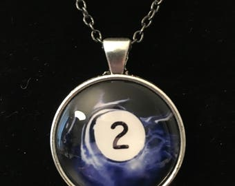 "Necklace - # 2 Swirl Pool Ball Image under glass dome. (16""-24"")"