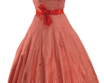 1950s Watermelon Pink & White Polka Dots Cotton Dress  - 50s Dress  - ***3 DAY SALE***