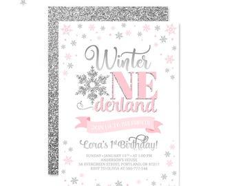 Winter Onederland Invitation Pink And Silver Baby Winter Birthday Invite Girl First Birthday Invitation Snowflakes Birthday PRINTABLE 5x7