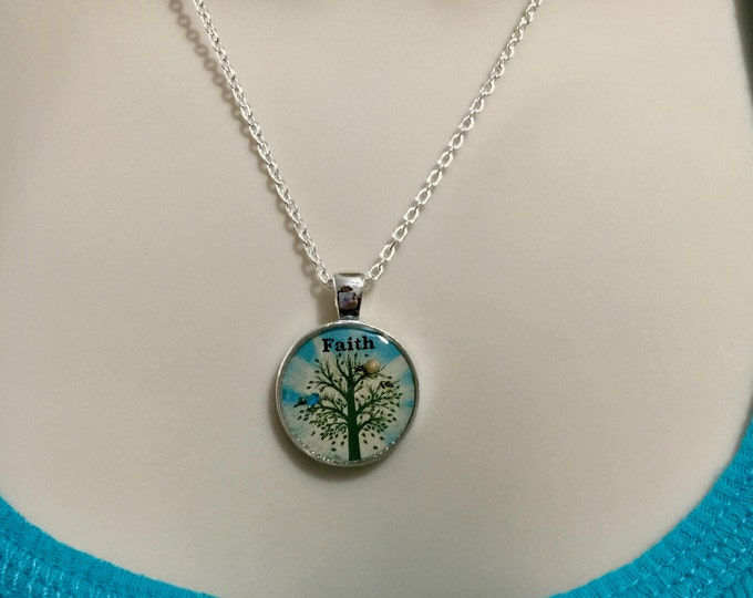 Mustard Seed Jewelry, Faith Jewelry, Mustard Seed Necklace with silver chain, Light Turquoise and SilverTree of Life Necklace, Matthew 17:20