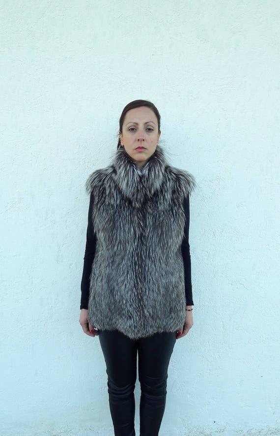 Silver FOX Fur Vest FULL SKIN - Silberfuchs Pelzweste Volle Haut-Gilet di Pelliccia pelle piena-чернобурка меховой жилет полная кожа