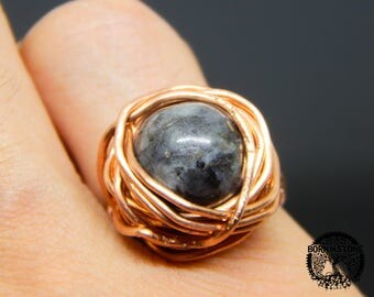 Wire wrapped ring Norwegian labradorite ring Copper ring Steampunk ring Wire wrap ring Mens ring Womens ring Magic ring Best gift For her