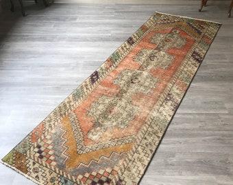 """2""""10x9""""4ft.pastel Low pile runner rug.vintage Oushak runner rug,faded runner rug,Vintage rug runner,hallway runner rug,Rugs,rug.area runner."""