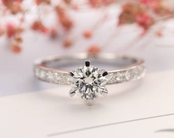 Unique engagement ring Moissanite engagement ring Women Wedding Diamond Half eternity Micro pave Bridal set Jewelry Anniversary gift for her