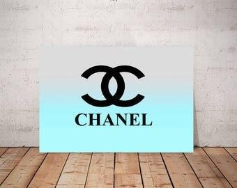 Chanel Logo Art, Print or Canvas, Blue Chanel Wall Decor, Coco Chanel Picture, Chanel Pop Art, Aqua, Light Blue, Multi Color Ombre Chanel