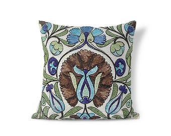 Pre-Raphaelite Pillow - Arts and Crafts Period - William De Morgan - Floral Pillow Sham - Accent Pillow - Textured Sham - Throw Pillow Cover