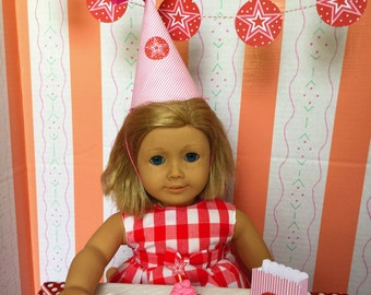 American Girl Birthday Party Supplies 18 Inch Doll: Favor Bag, Cupcake, Plate, Cup, Napkin, Straw, Star Cookie, Part Hat, Star Theme