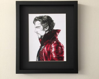 Fan art print of portrait ink and gouache painting of Doctor Strange, Benedict Cumberbatch