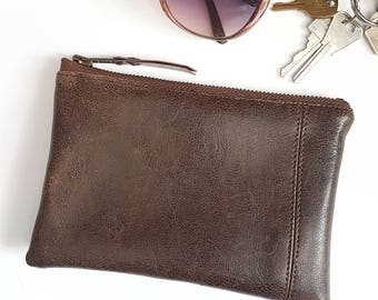 VEGAN Leather Pouch. Brown Faux Leather. Zippered Wallet. Upcycled Change Purse. Cosmetic Bag. Makeup Bag. Ready To Ship