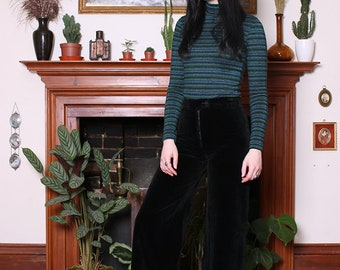 Vintage 60s Black Velvet Flared Trousers XXS