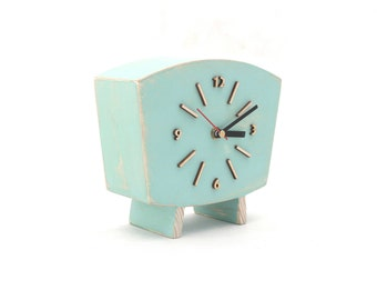 Pastel Mint Clock Table, Wood Desk Clock, Distressed Mantel clock, for Her, Shabby chic Summer decor Mint Green for home, Wedding gift