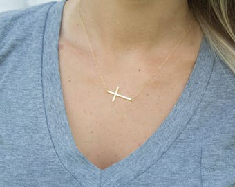 Silver/Gold/Rose Gold Sideways Thin Plain Cross Necklace, Simple Cross Necklace, Off Center Petite Cross Necklace, Gift for her, Religious
