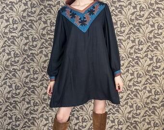 Folk embroidered dress, embroidery dress ,bohemian dress, floral patchwork, autumn dress, long sleeves,blak dress embroidered, boho dress
