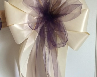 10 pearl beaded white or ivory florist ready LOTS of TULLE wedding pew chair stair bows royal orange plum purple lavender turquoise red