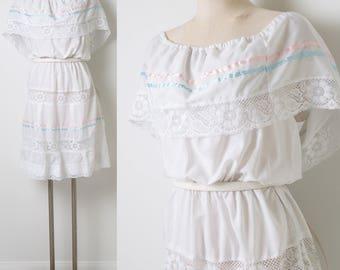 Vintage 70s Dress, Vintage white Dress, White lace dress, Peasant Dress, Ethnic Dress, Bohemian Dress, Vintage lace dress - L/XL