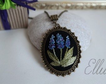 Floral embroidery necklace Dark purple necklace Hand Embroidered pendant Wife purple jewelry Hyacinth wife jewelry Spring purple jewelry Eco