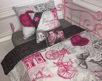 "18"" Doll Bedding Set/American Girl Bedding/4pc Doll Bedding Set/Doll Bedding Set/Paris"