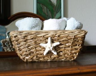 Storage basket - knobby starfish basket - home organization - beach decor - coastal decor - office decor