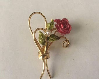 Enamel and Pearl GF sterling Rose Pin