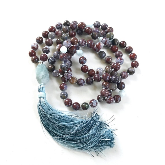 Mala Beads To Quiet The Mind, Red Fire Agate & Aquamarine Mala Necklace, 108 Beads Mala Hand Knotted, Tassel Mala Beads, Yoga Meditation