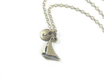 Nautical Necklace, Boat Necklace, Sailboat Necklace, Nautical Jewelry, Memorial Jewelry, Loss of Loved One Sympathy Gift, In Remembrance
