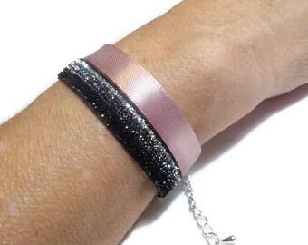 Old bracelet pink and black silver glitter fabric, festive, vintage mood