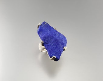 Stunning raw stone Lapis Lazuli ring set with Sterling silver - statement ring - big ring - blue and silver - AAA Grade afghan Lapis-natural