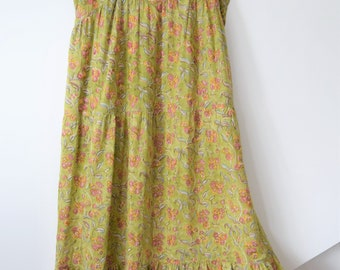 Indian cotton Gypsy Festival maxi dress  Folk boho hippy smock m uk 12 14 us 8 10 bohemian 90s