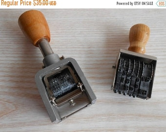 ON SALE Set of 2 Vintage Stamp,Ticket Price Tags, Automatic Numbering Machine, Old Polygraph Stamp, Numbering Stamp, Old Date  Stamper, Hand