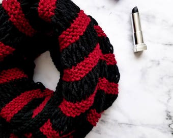Knit infinity scarf Red and black scarf Womens knit scarf Neckwarmer scarf Knit cowl neck scarf Knit winter scarf Red scarf infinity