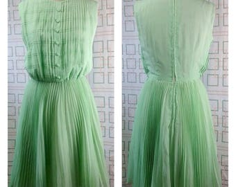 Stunning vintage 1960's spearmint pleated rayon/silk crepe dress/mad men/ spring/day dress.