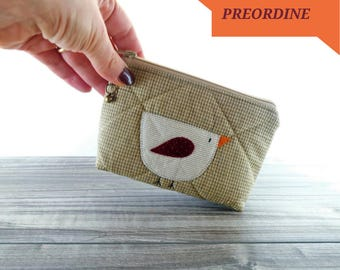 Fabric coin purse with bird, country style purses, purses, briefcase, small wallet, purse