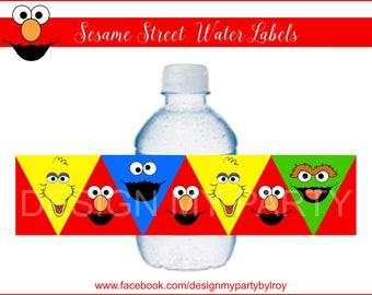 SESAME STREET, Instant Download Water Labels, Sesame Street Digital Labels , Party Supplies, Paper Supplies, Sesame Street Party, Elmo.