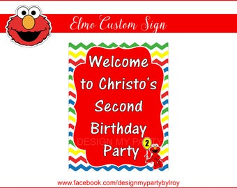 ELMO CUSTOM DIGITAL Sign, Elmo Party Supply, Elmo Party Decor, Elmo Party Printable, Elmo Paper Supply, Digital File, Sesame Street Party.