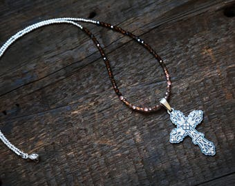 Sterling Silver Decorative Cross Beaded Necklace