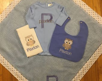 Baby Blanket/Personalized Baby Blanket for Boy/Personalized Bib/Personalized Burp Cloth/Personalized Baby Item/Owl Bedding/Owl Bib/Owl Burp