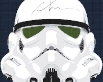 Stormtrooper cross stitch helmet Cross Stitch Pattern Pdf вышивки крестом - 220 x 220 stitches - INSTANT Download - B369